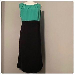 Dana Kay Kelly Green and Black Midi Career Dress